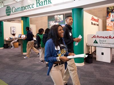 Volunteers and Students in a JA Finance Park or JA BizTown